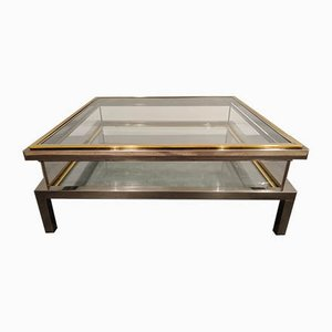 Vintage Sliding Glass Top Coffee Table from Maison Jansen, 1970s