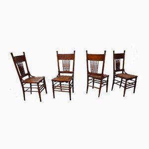 Sedie da pranzo antiche di Heywood Brothers & Wakefield Company Chicago, set di 4