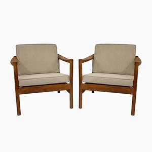 Scandinavian Style Mottled Linen Fabric Lounge Chairs, 1960s, Set of 2