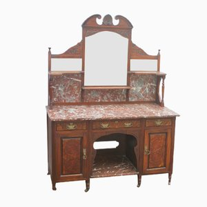 Large Walnut Marble Top Washstand, 1930s