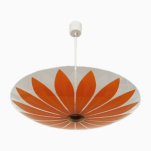 Floral Glass Ceiling Lamp, 1950s