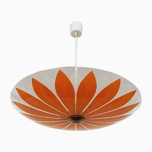Lámpara de techo floral de vidrio, años 50