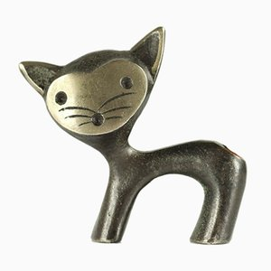 Vintage Brass Cat Pen Holder by Walter Bosse for Herta Baller, 1950s