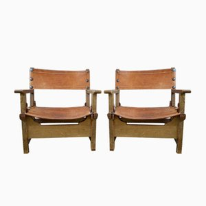 Leather and Wood Lounge Chairs, 1940s, Set of 2