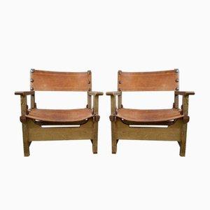 Poltrone in legno e pelle, anni '40, set di 2