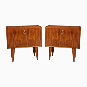 Italian Walnut, Beech, Mahogany, and Fruitwood Nightstands, 1970s, Set of 2