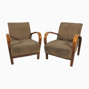 Vintage Art Deco Lounge Chairs by Jindřich Halabala for Interier Praha, 1950s, Set of 2