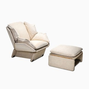 Vintage Lounge Chair and Ottoman Set from Saporiti Italia, 1970s