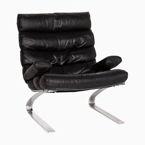 Black Leather Armchair by Reinhold Adolf for Cor