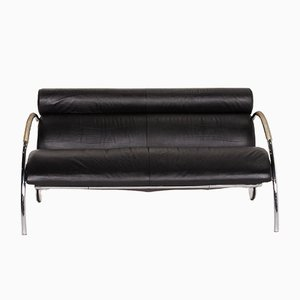 Black Leather 2-Seater Sofa by Peter Maly for Cor