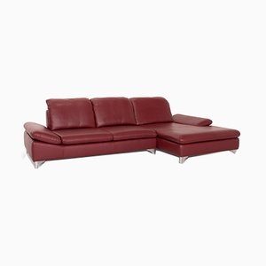 Red Leather Enjoy Corner Sofa from Willi Schillig