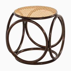 Austrian Cane and Bentwood Stool by Michael Thonet, 1950s