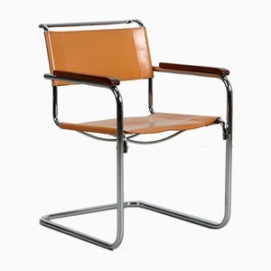 Bauhaus Beige Cognac Leather S34 Cantilever Chair by Mart Stam for Thonet, 1980s