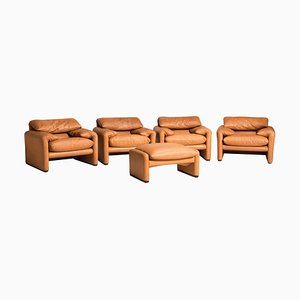 Tobacco Leather Maralunga 675 Adjustable Headrest Armchairs & Pouf by Vico Magistretti for Cassina, 1980s, Set of 5