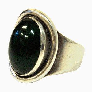 Ovaler dänischer Ring aus versilbertem Silber von Carl Ove Frydenberg, 1950er