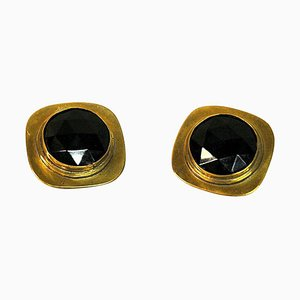 Vintage Brass Clip On Earrings by Anna-Greta Eker for Plus Norway, 1960s