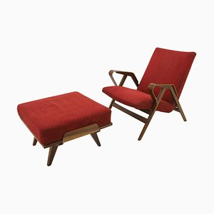 Mid-Century Armchair & Footstool from Tatra Pravenec, Czechoslovakia, 1970s, Set of 2