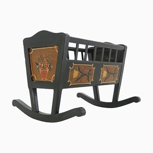 Antique Folk Art Painted Rocking Cradle, 1830s