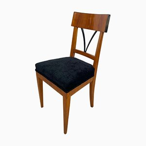 Biedermeier German Cherrywood and Black Velvet Side Chair, 1820s