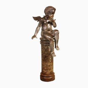 Sculpture Antique d'un Ange Assis sur une Colonne en Bronze