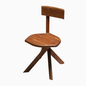 Solid Elm Model S34 Dining Chair by Pierre Chapo, 1960s