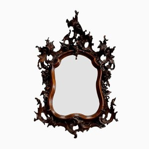 Antique Louis XV Style Solid Walnut Rocaille Mirror, 1900s