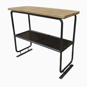 Vintage Industrial Double Metal Console Table with Oak Top, 1940s