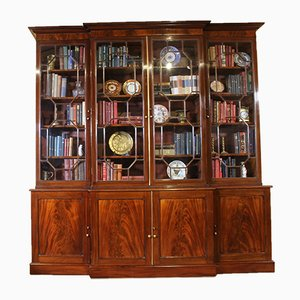 Antique George III Mahogany Breakfront Cabinet, 1800s
