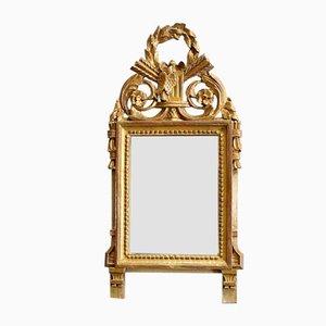 Petit Miroir Antique Style Louis XVI en Bois Doré