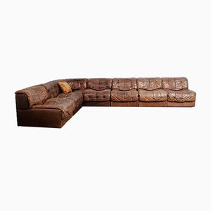 Brown Leather Model DS11 Modular Sofa from de Sede, 1970s