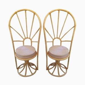 Italienische Stühle aus Bambusholz, 1970, 2er Set