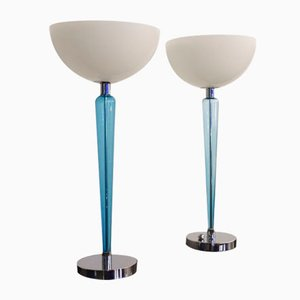 Murano Glass Model Coppa Table Lamps by Jeannot Cerutti for VeArt, 1980s, Set of 2