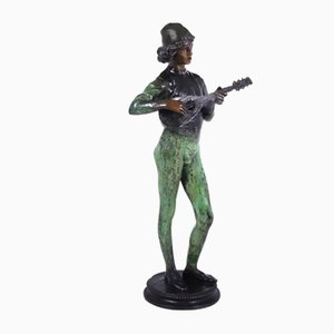 Antique Bronze Standing Music Man Sculpture by Barbedienne Fondeur, 1880s