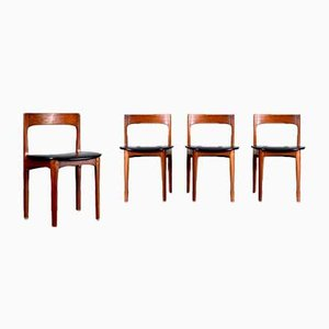 Teak and Leatherette Dining Chairs from Nathan, 1960s, Set of 4