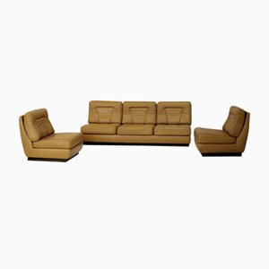 Dark Yellow Leather Sofa and Easy Chairs Set by Jacques Charpentier, 1970s