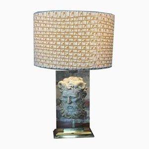 Neoklassizistische Tischlampe aus Vergoldetem Metall & Altuglas Gesicht, 1950er