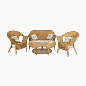 Set da salotto e tavolo vintage in vimini, anni '90, set di 4