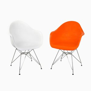 Orange and White Plastic Side Chairs, 2000s, Set of 2