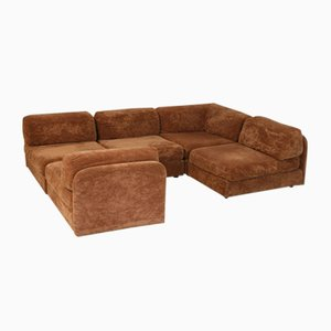 Light Brown Velvet Modular Sofa, 1970s