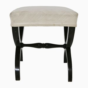 Mid-Century Italian White Fabric Footstools, 1950s, Set of 2