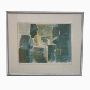 Swedish Abstract Lithograph by Gosta Lindqvist, 1960s