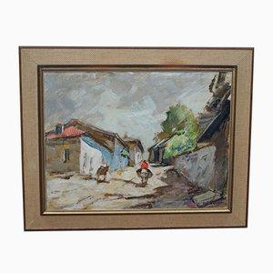 Pittura ad olio di Knut Norman, Svezia, anni '60