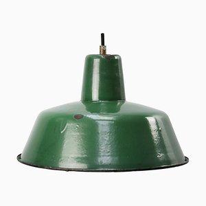 Lampe à Suspension Vintage Industrielle en Email Vert
