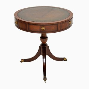 Regency Style Mahogany and Leather Drum Table, 1930s