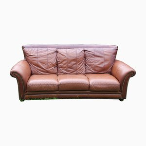 Large Brown Leather 3-Seater Sofa, 1980s