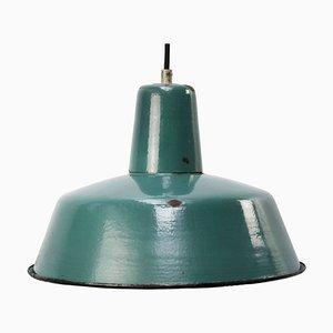 Vintage Industrial Petrol Enamel Pendant Lamp