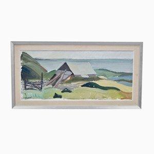 Pintura al óleo sueca moderna de Allan Erwö, años 60