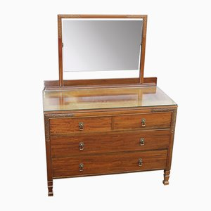 Mahogany Dressing Table with Central Mirror, 1940s