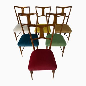 Italian Colored Dining Chairs from La Permanente Mobili Cantù, 1950s, Set of 6