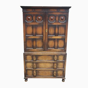 Antique Oak Linen Press with Drawers, 1930s
